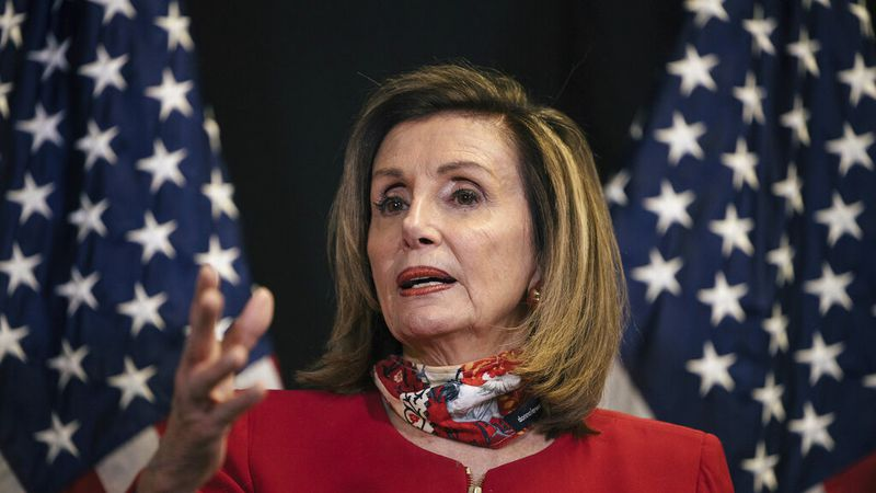 Speaker of the House Nancy Pelosi, D-Calif., talks to reporters about Election Day results in...