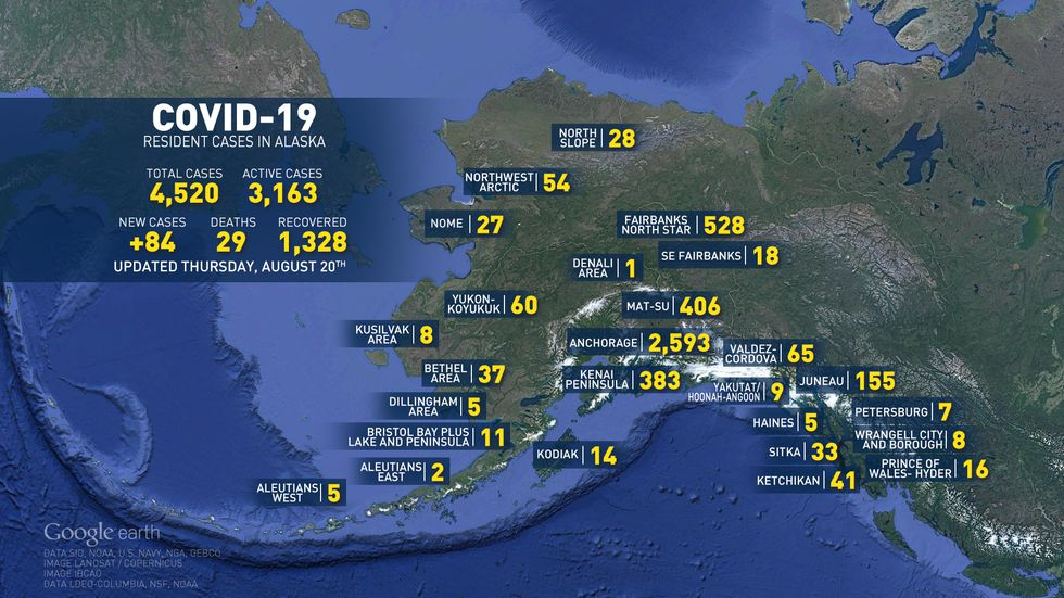 These are the numbers of COVID-19 in Alaska for August 20, 2020.