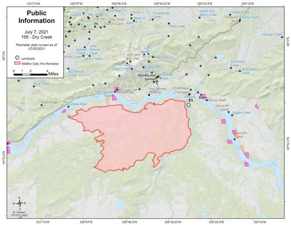 This map shows the boundaries of the Dry Creek fire burning south of Manley Hot Springs on July...