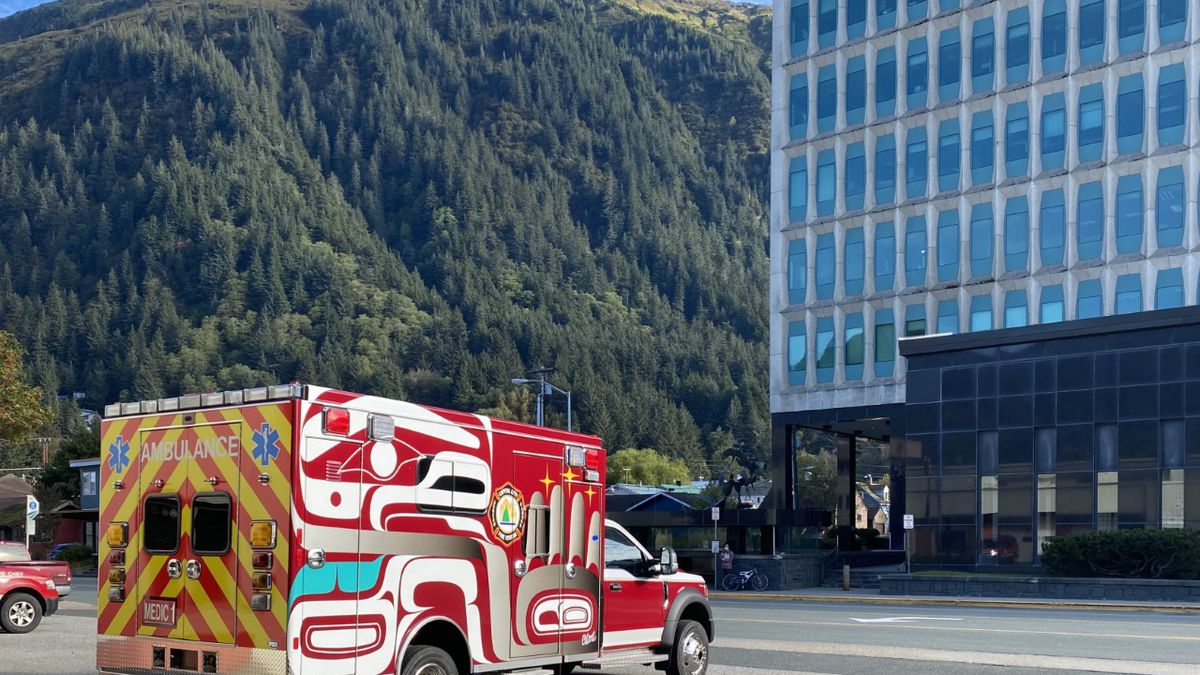 A Juneau ambulance with Northwest Coast formline designs. (09/15/2020).