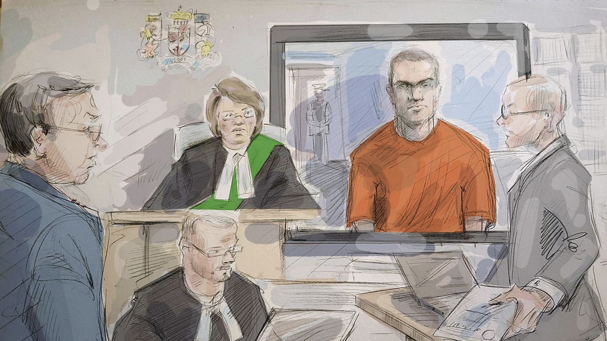 FILE - In this May 10, 2018 file photo of a courtroom sketch, from left, defense lawyer Boris...