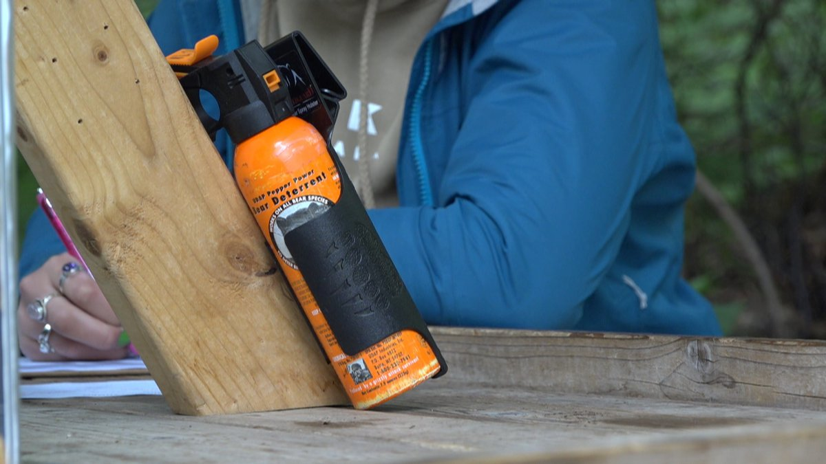 A can of bear spray ready to go at the ticket booth at the Alaska Botanical Garden.