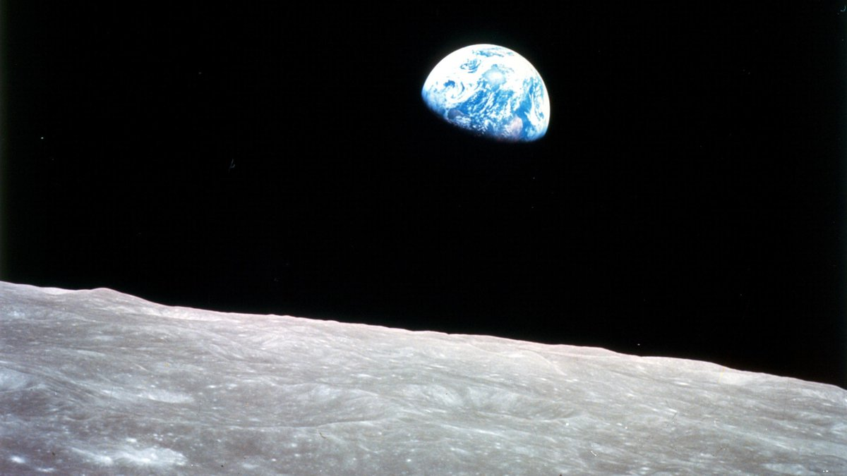 The famous 'Earthrise' photo from Apollo 8, the first manned mission to the moon (NASA)