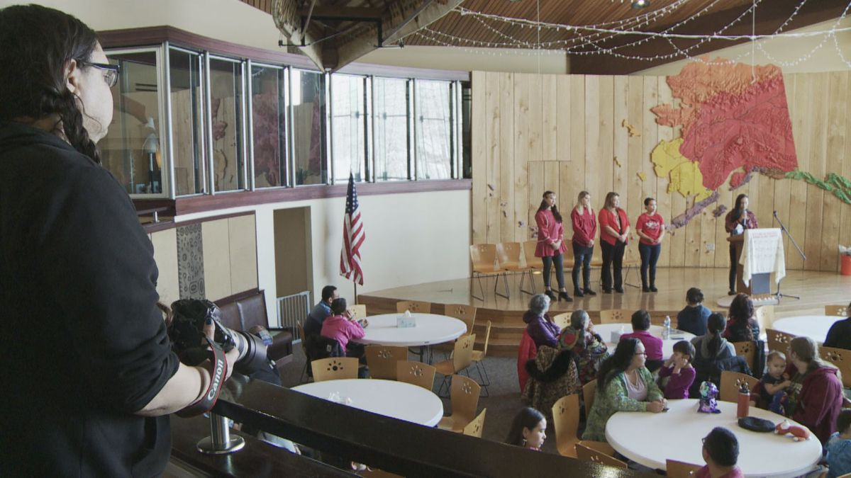 Alaskans hold a vigil honoring MMIWC at the Alaska Native Heritage Center Saturday Feb. 1. (KTUU)