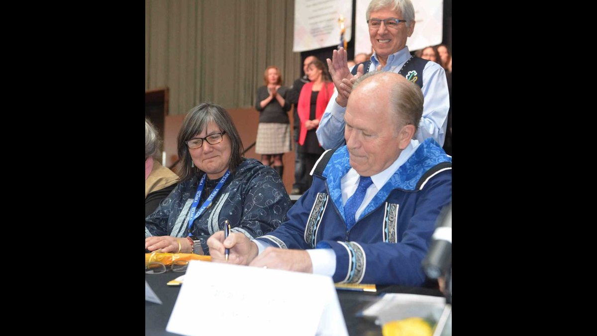 Gov. Walker signs the Alaska Tribal Child Welfare Compact at the 51st annual AFN Conference....