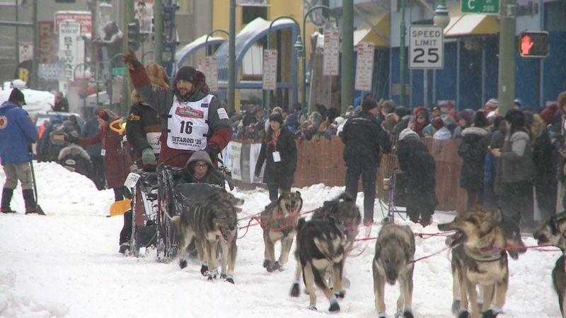 Veteran musher Richie Diehl, bib 16, as he leaves the Anchorage Ceremonial start of Iditarod...