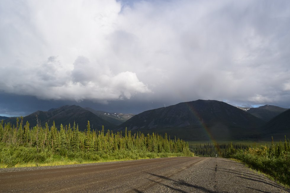 A rainbow is seen along the Dalton Highway on the way back to Fairbanks, Alaska. June 2020...