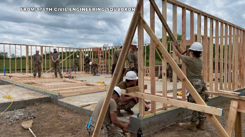 Members of 176th Civil Engineering Squadron work on four new homes in Oklahoma.