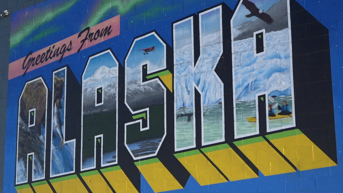 The mural outside the Alaska Travel Industry Association building in Anchorage.