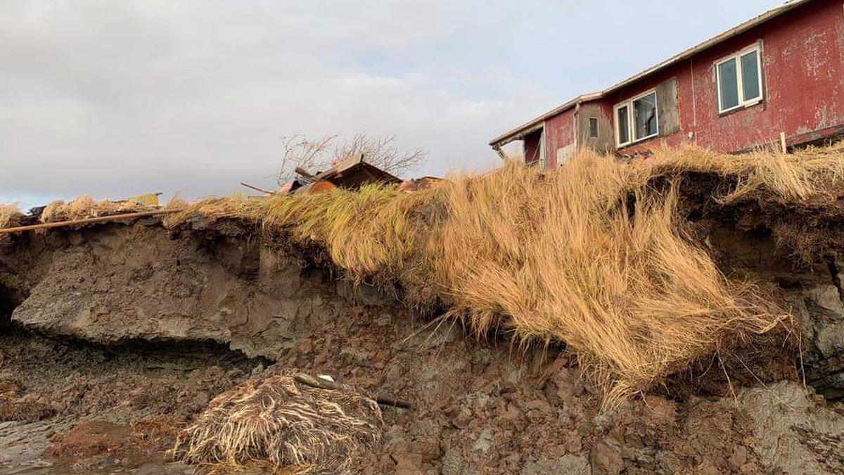 The erosion of Newtok's coastline, October 12, 2018 (Courtesy Calvin Tom)
