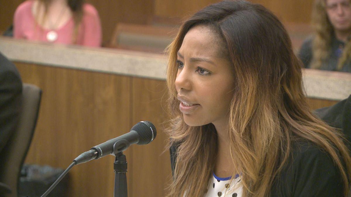 Charlene Egbe, aka Charlo Greene, at a 2015 court appearance (KTUU)