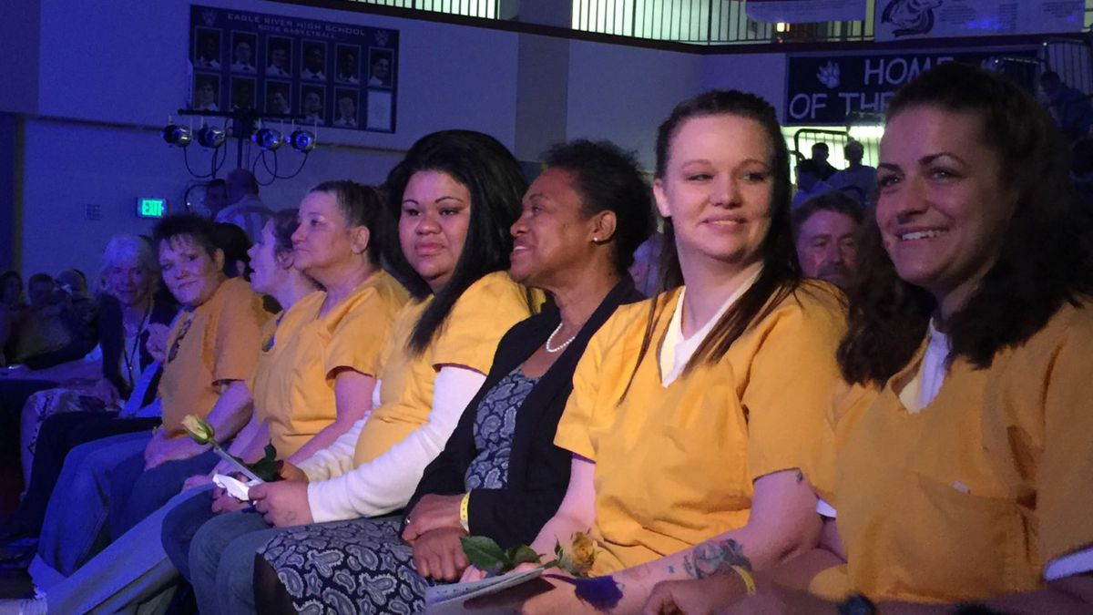 Hiland Mountain inmates attend Easter church service at Eagle River High School.