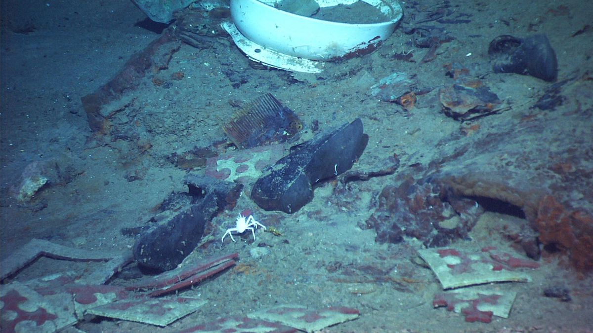 This 2004 image provided by the University of Rhode Island's Institute for Exploration and Center for Archaeological Oceanography and the National Oceanic and Atmospheric Administration's Office of Ocean Exploration shows the shoes of one of the possible victims of the Titanic disaster. A company's plan to retrieve the Titanic's radio has sparked a debate over whether the famous shipwreck still holds human remains.