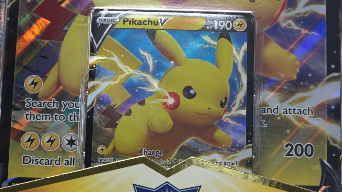 A Pikachu card inside an expansion pack at Tier 1 Cards and Games in Anchorage.