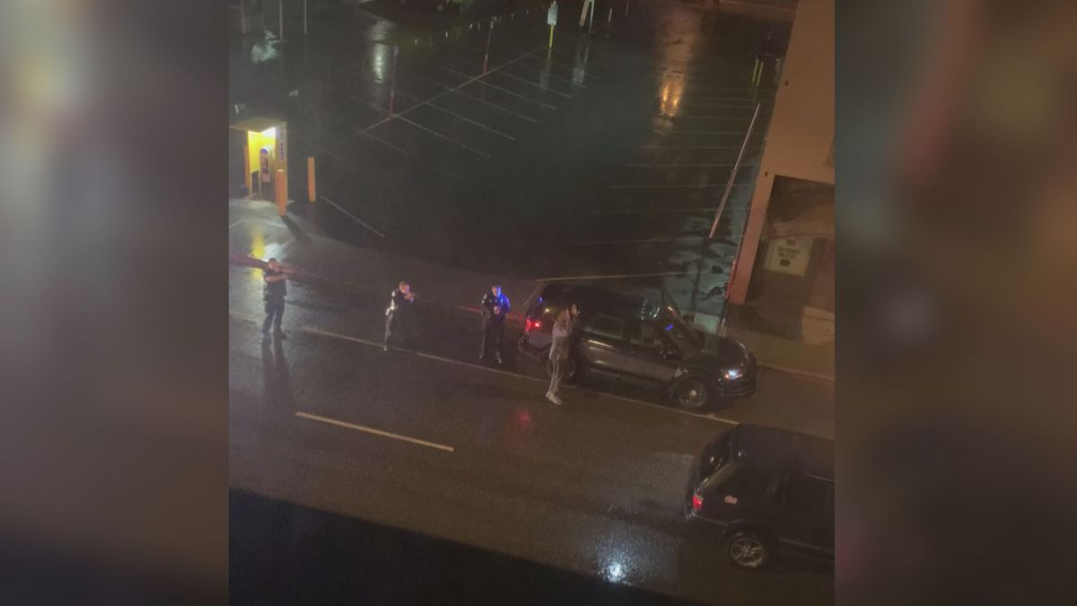 APD officers detain 26-year-old David Dumpson near the intersection of 5th Avenue and I Street. Sunday, May 24, 2020 (Image from KTUU Viewer)