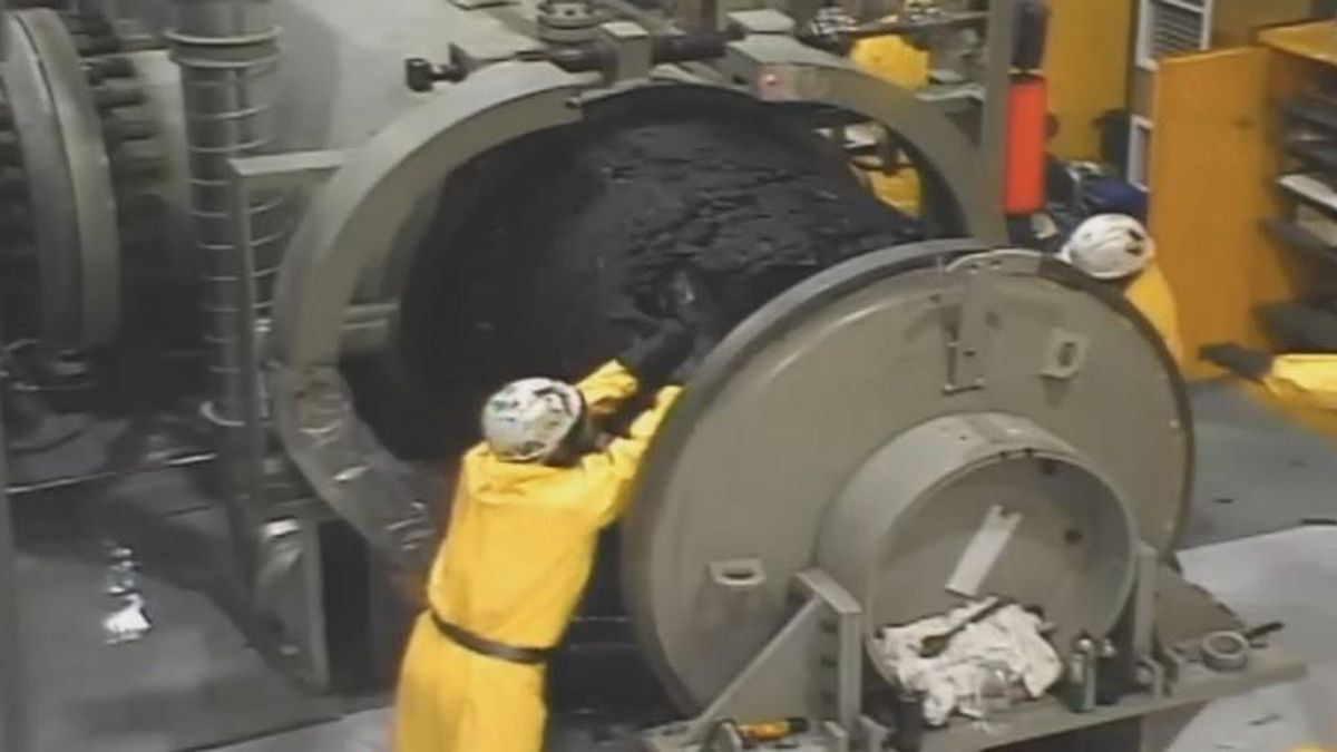 Works at Pump Station 9 near Delta Junction removing wax from the Trans Alaska Pipeline. Photo...