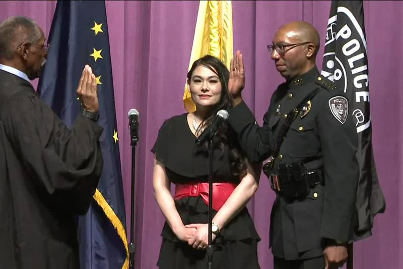 APD Chief Ken McCoy takes ceremonial oath on August 5, 2021.