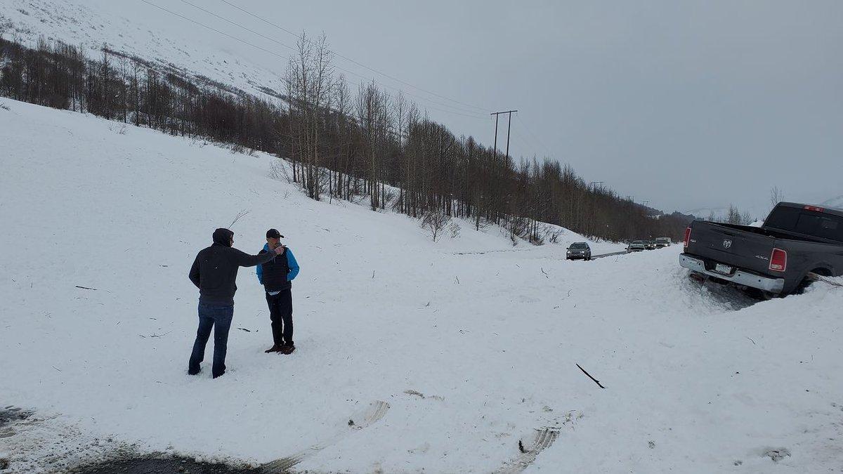An avalanche is blocking the Seward Highway near milepost 45.