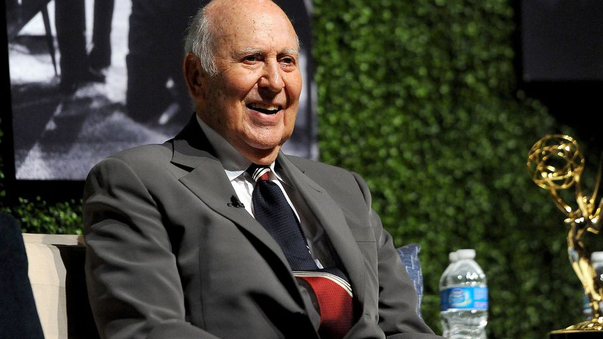 This file photo shows Carl Reiner onstage at the Academy of Television Arts & Sciences...