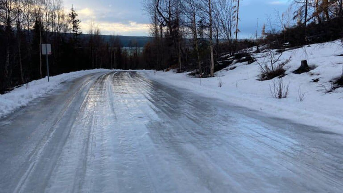 Difficult driving conditions on Skilak Lake Road, as fluctuating temperatures lead to icy roads.