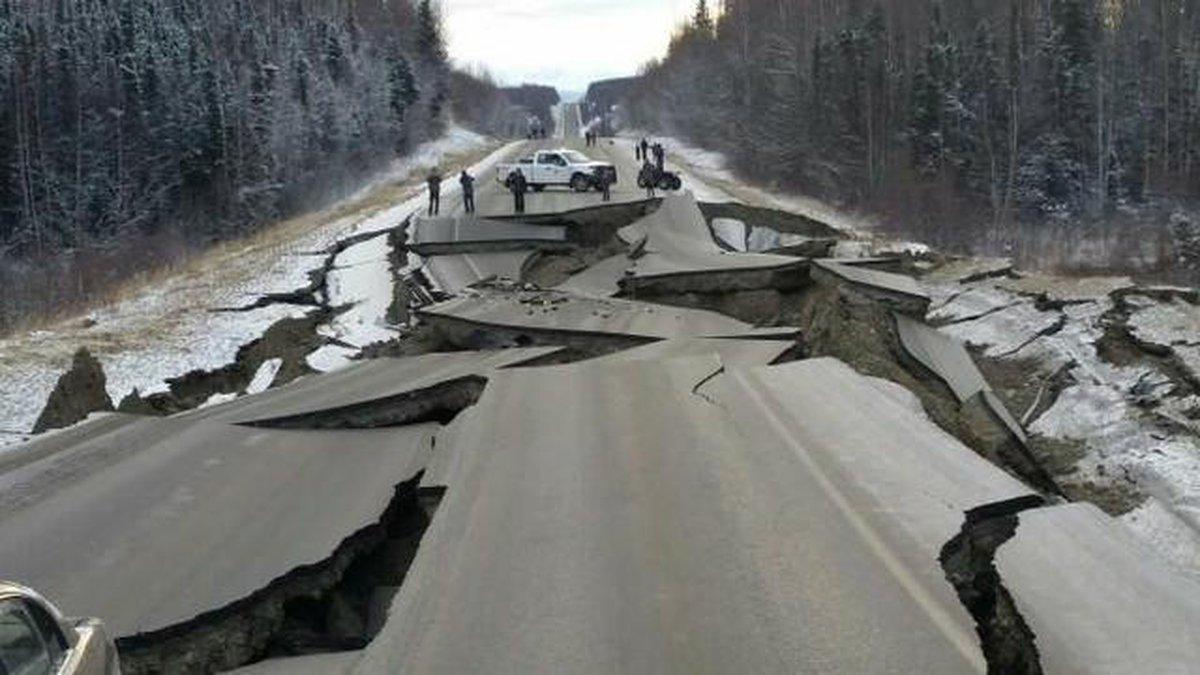 Damage on Vine Road following the 7.0 magnitude quake.
