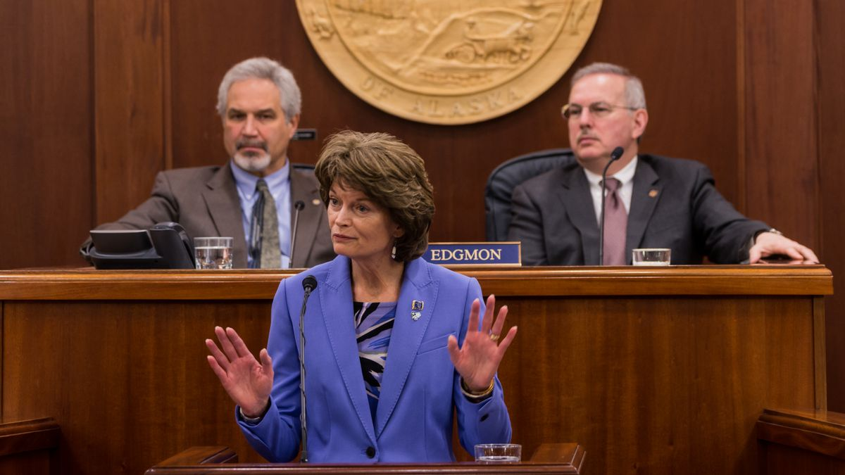 Sen. Lisa Murkowski delivers her annual speech to the Legislature during a joint floor session