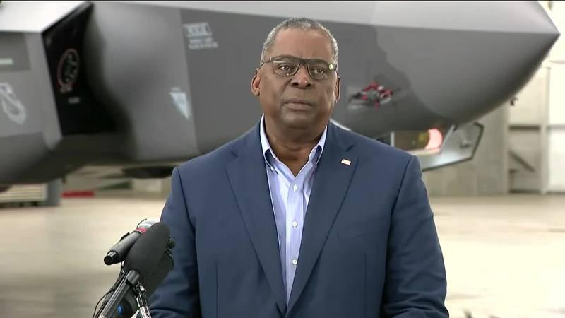 Defense Secretary Lloyd Austin speaks to reporters at Eielson Air Force Base