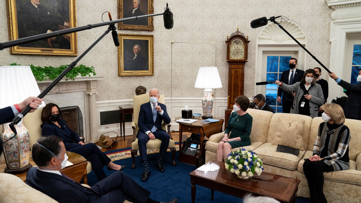 President Joe Biden meets Republican lawmakers to discuss a coronavirus relief package, in the...