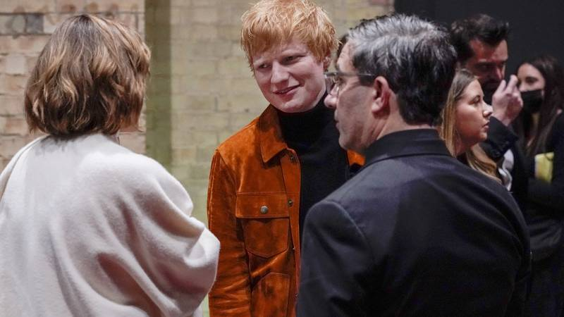 In this Sunday, Oct. 17, 2021 file photo, British singer Ed Sheeran attends the first ever...