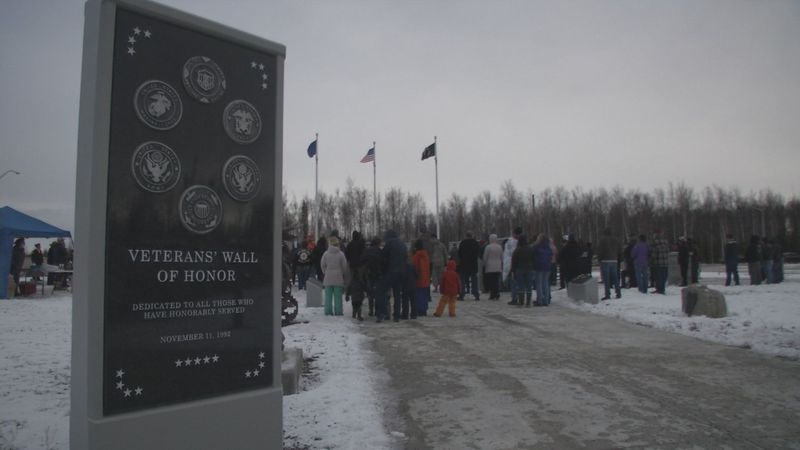 Dozens of people gathered at the Veterans' Wall of Honor in Wasilla for an annual celebration.