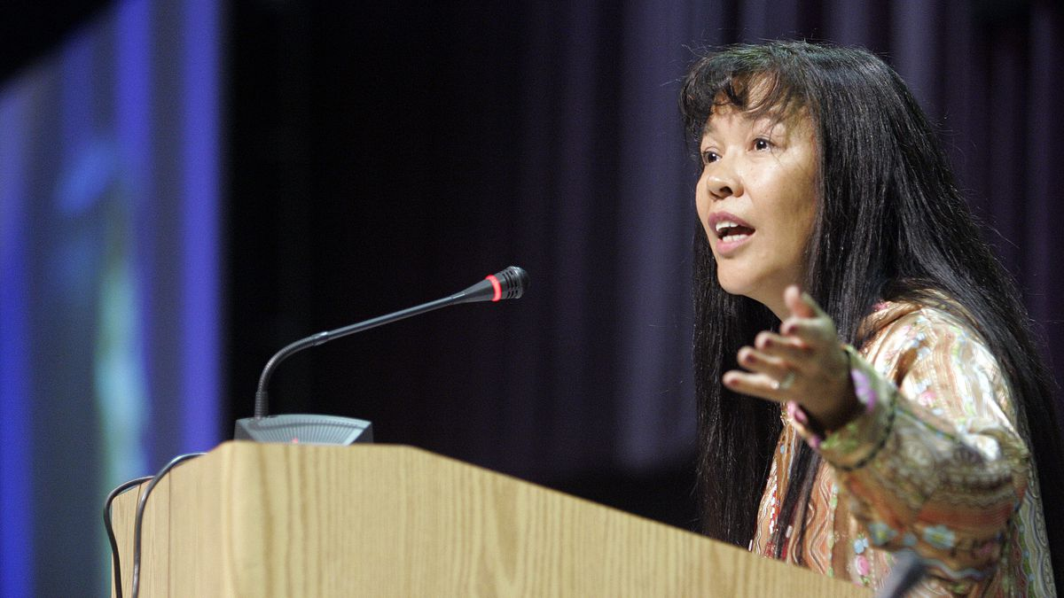 Katherine Gottlieb,   president and CEO of the Southcentral Foundation, speaks as the keynote speaker to the Alaska federation of Natives Convention in Anchorage, Alaska Thursday Oct. 26, 2006.  (AP Photo/Al Grillo)