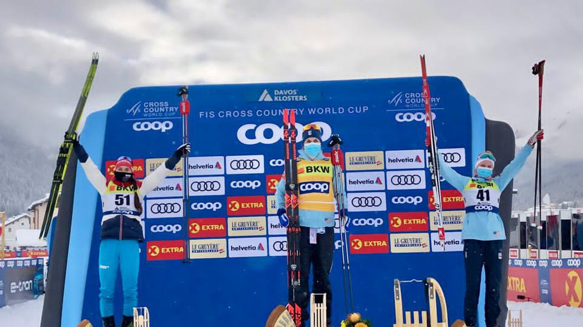 APU skier Rosie Brennan atop the podium in Davos, Switzerland.