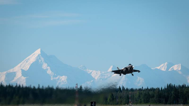 An F-35A Lightning II assigned to the 355th Fighter Squadron (FS) takes off from Eielson Air...