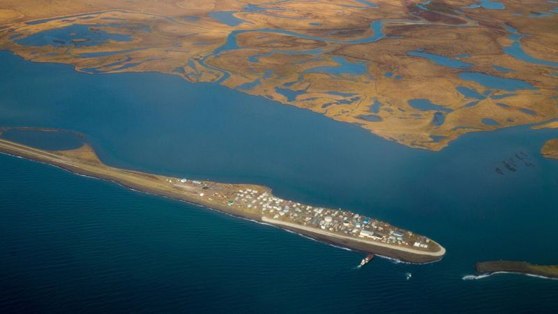 This Sept. 2, 2015, file aerial image shows the island village of Kivalina, an Alaska Native...