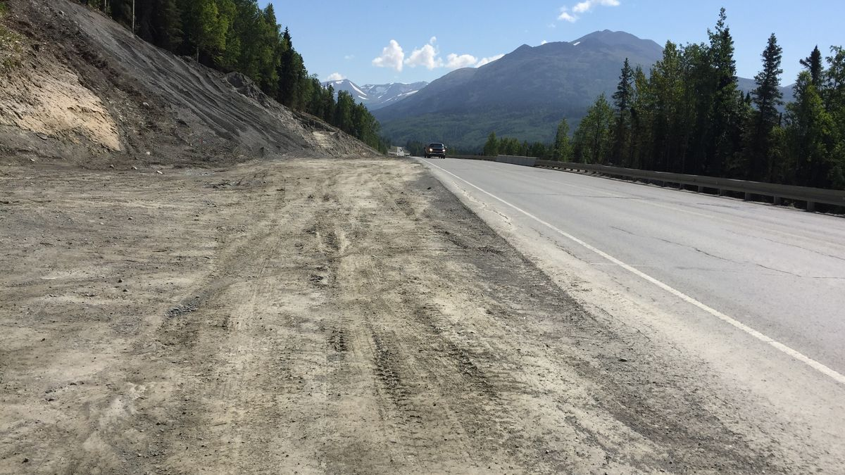 This photo shows part of the Sterling Highway construction project, where a boy was killed after a rock fell from a truck into the car in which he was riding. (KTUU)