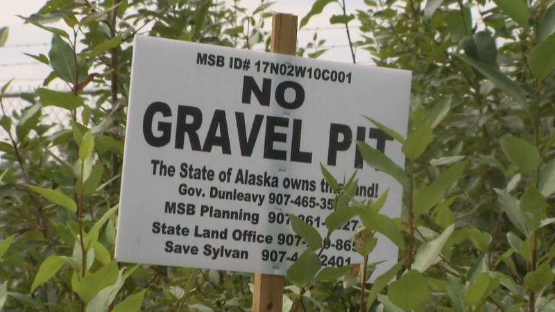 A sign was posted along South Sylvan Road opposing gravel pit.