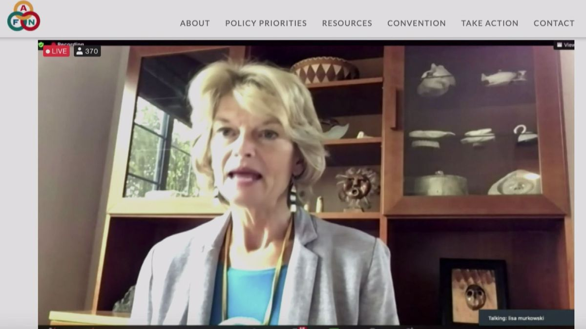 Sen. Lisa Murkowski, R-Alaska, addressing the 2020 AFN convention virtually on Thursday.