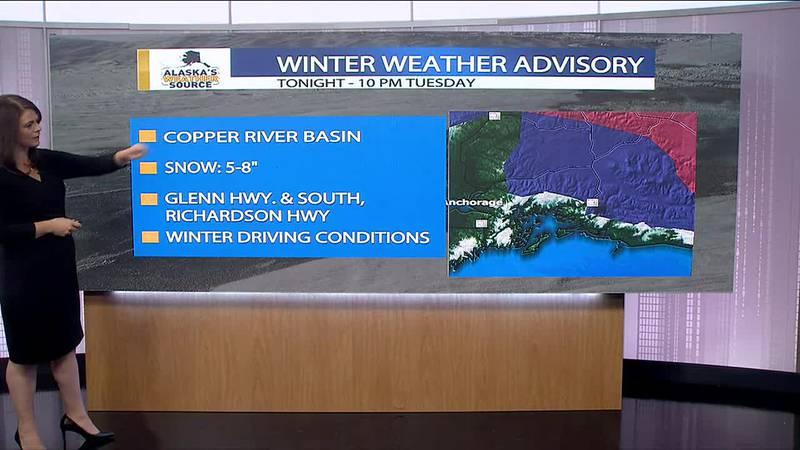 Winter weather moving across Alaska