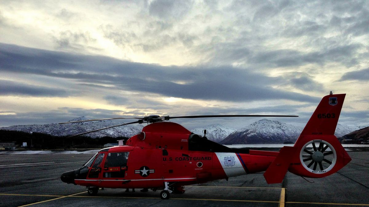 A Coast Guard MH-65 search and rescue helicopter like the one used in Monday's medevac near Dutch Harbor.