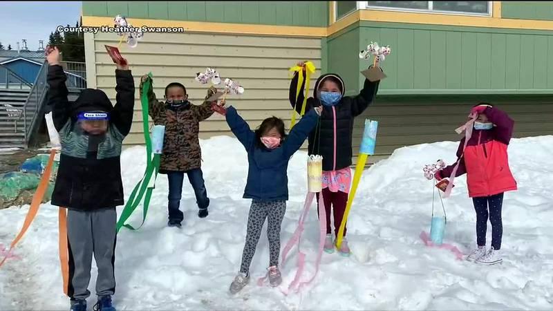 Koyuk elementary students make their own weather instruments.