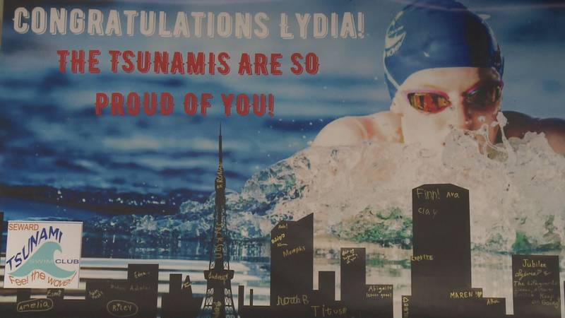 Seward shows support for their swimmer