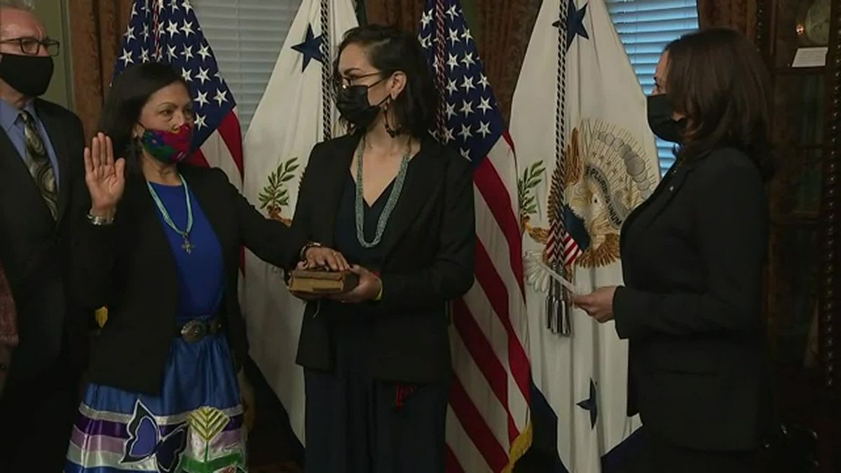 Interior Secretary Deb Haaland, left, has revoked a series of Trump administration orders that...
