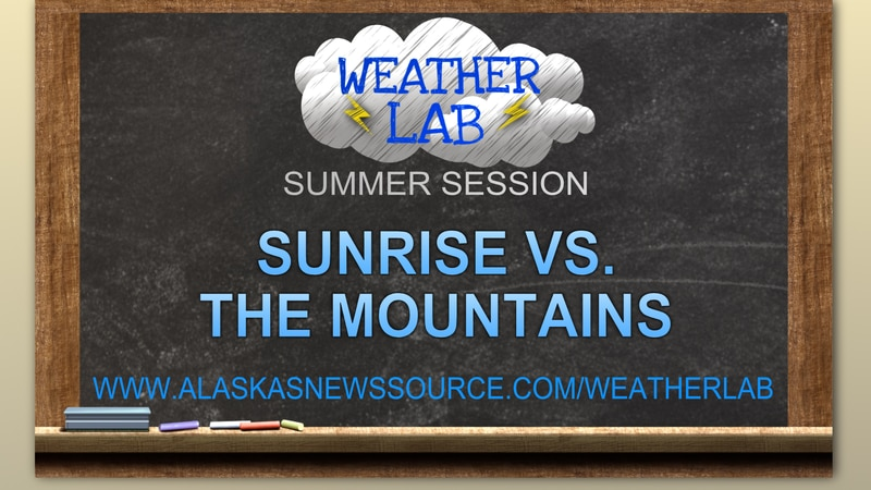 Does a sunrise time take into account the mountains around Anchorage?
