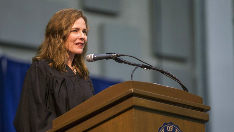 In this May 19, 2018, file photo, Amy Coney Barrett, United States Court of Appeals for the...