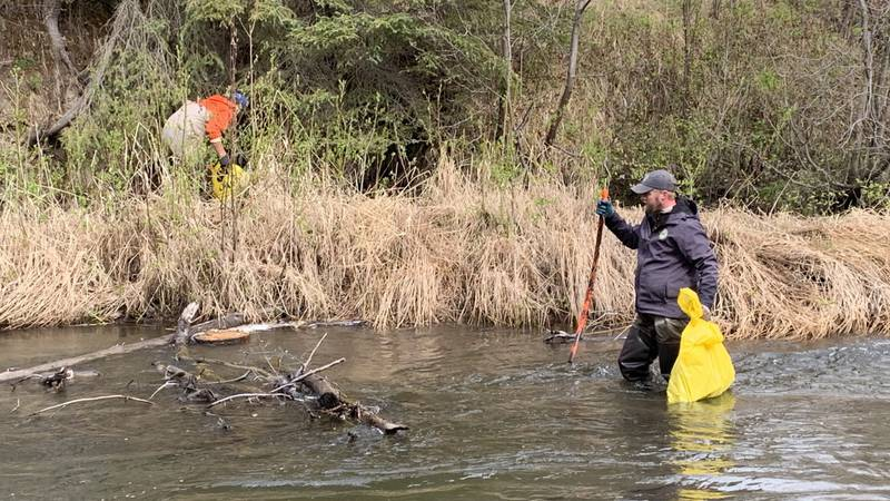 Volunteers tackle cleanup in a portion of Campbell Creek.
