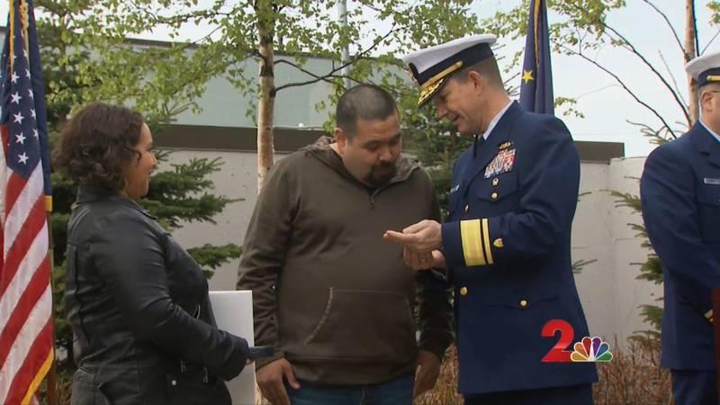Geroge 'Radar' Lambert receives Silver Lifesaving Award.