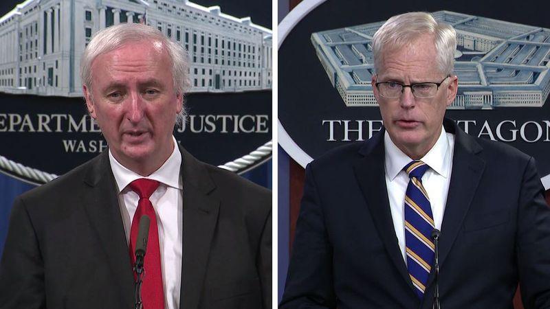 Former acting Attorney General Jeffrey Rosen, left, and former acting Defense Secretary...
