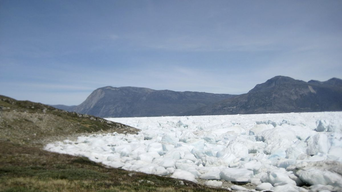 An image taken on June 18, 2019 of the Kangersuneq glacial ice fields in Kapissisillit,...