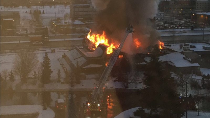 Sea Galley restaurant in Anchorage goes up in flames on Jan. 3, 2019. Photo courtesy of Shawna...