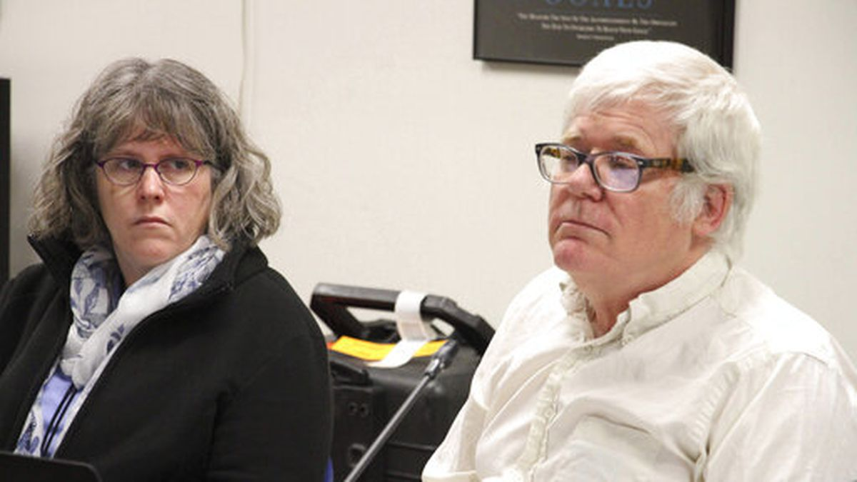 Former Director of the state's combined alcohol and marijuana control office Erika McConnell, left, sits with Marijuana board chairman Mark Springer in Anchorage, Alaska, on Wednesday, Nov. 13, 2019. The board that regulates Alaska's legal marijuana industry voted to fire McConnell following last month's vote by the Alcoholic Beverage Control Board to dismiss her. (AP Photo/Mark Thiessen)
